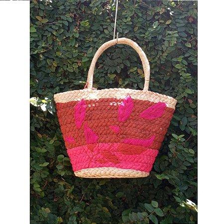 Bolsa Folhas Pink Ousar Hadmade
