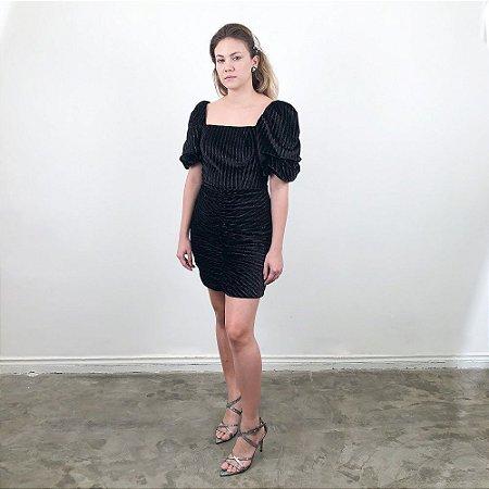 Vestido Veludo com Brilho Hit