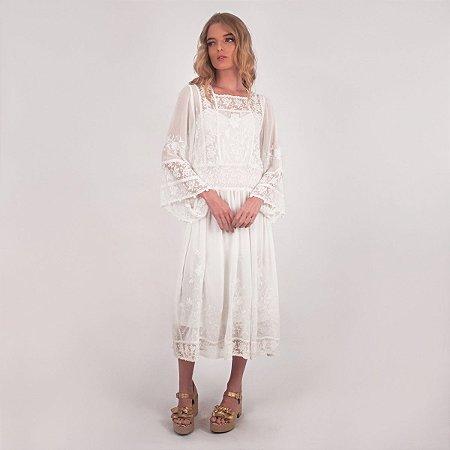 Vestido Midi Off White Raissa