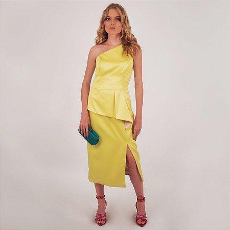 Vestido Midi Festa Amarelo Frutacor