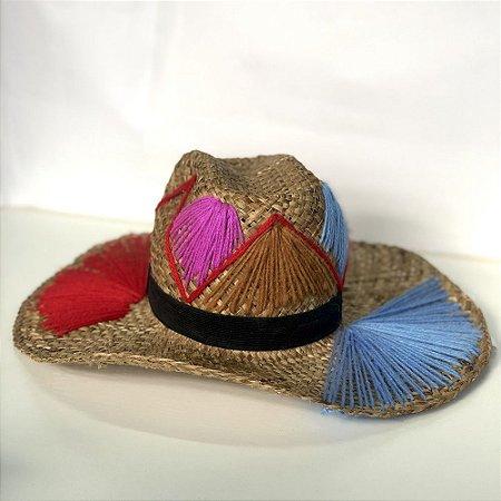 Chapéu Palha Linhas Coloridas Ousar Sianinha