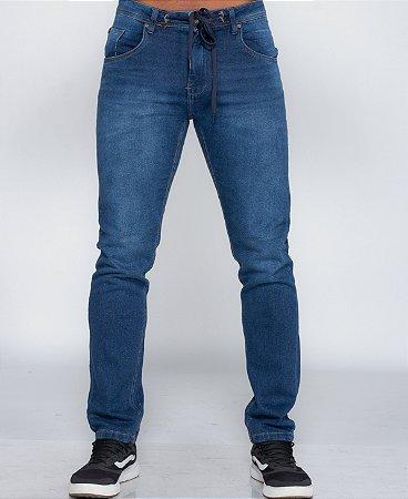 Calça Jeans Masculina Oksys Runner c/ Cordão Escura REF 09034