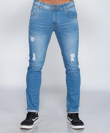 Calça Jeans Clarinha Oksys Barra Avesso Com Rasgos REF 09023