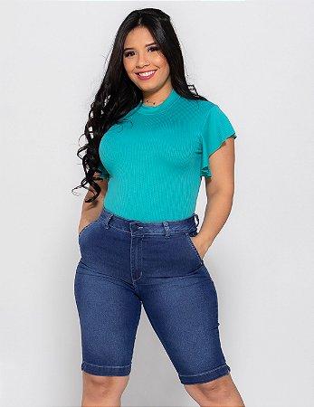 Bermuda Jeans Feminina Bolso Faca LPP REF 09135