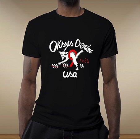 Camiseta gola redonda Oksys  9 lives BLACK