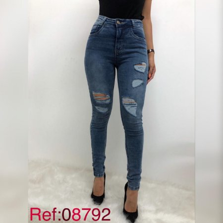 Calca feminina elastano rasgadinha-08792