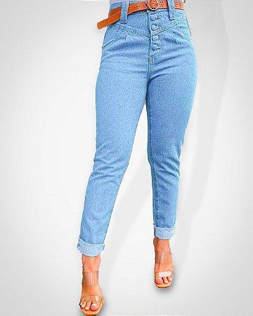 Calça jeans MOM LISA c/ Botões Forrados (não inclui o cinto)