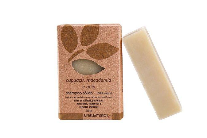 Shampoo Sólido Natural de Cupuaçu, Macadâmia e Anis 115g - Ares de Mato