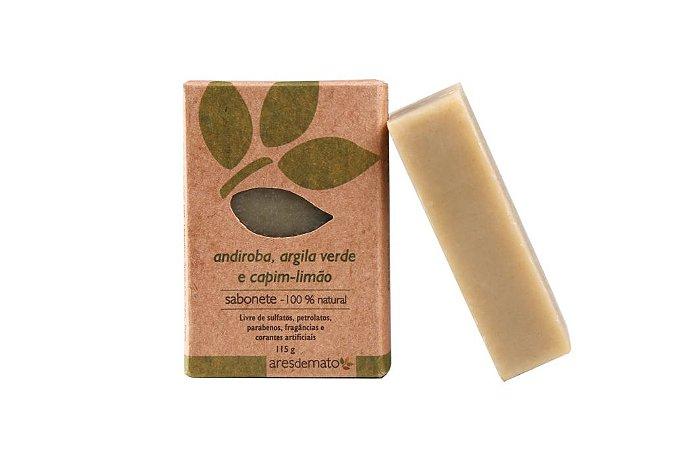 Sabonete Natural de Andiroba, Argila Verde e Capim Limão 115g - Ares de Mato