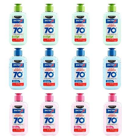 Kit  c/ 12 Álcool Gel pra bolsa Bacter-X 70% Antisséptico - 60ml