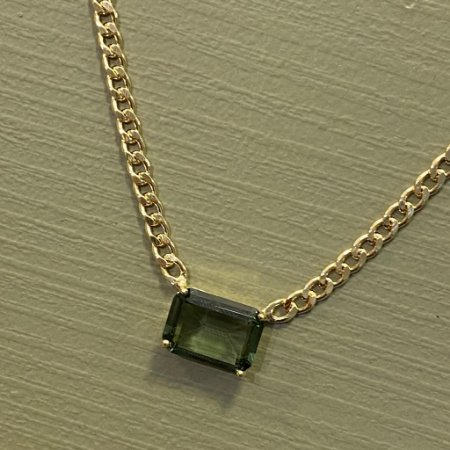 Colar Retangular de Pedra - Ametista Verde - Grossa
