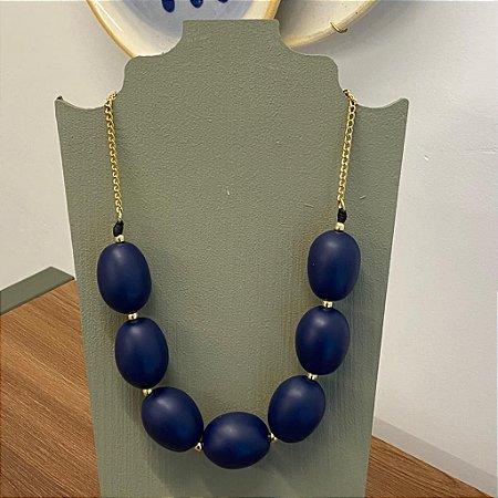 Colar Oval - Fosco - Azul Marinho