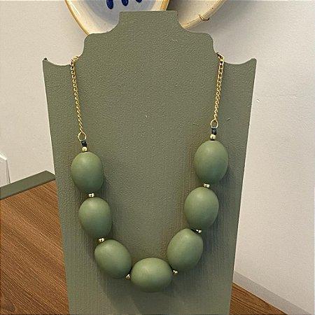 Colar Oval - Fosco - Verde