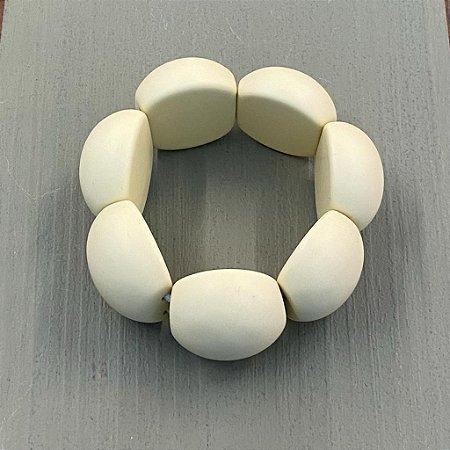 Bracelete de Bolas de Resina - Fosco - Off
