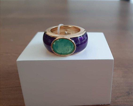 Anel Esmaltado Pedra Oval - Roxo