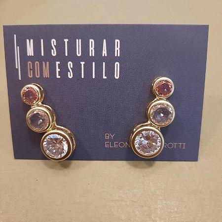 Ear Cuff Crav Inglesa - Cristal, Morganita e Rubi