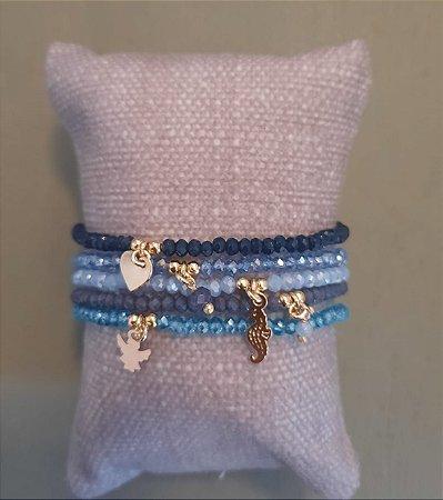 Conjunto Pulseiras Fio de Cristal - Azuis