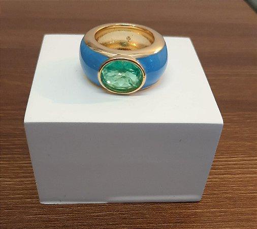 Anel Esmaltado Pedra Oval - Azul Claro