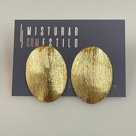 Brinco Oval Escovado - Dourado