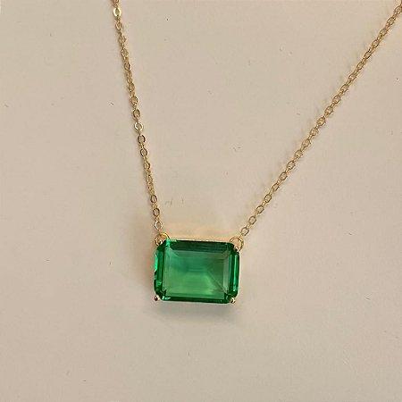 Colar Retangular de Pedra - Paraíba Verde