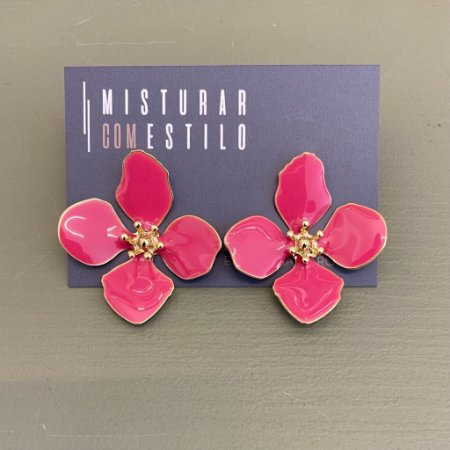 Brinco Flor Quatro Pétalas Grande - Pink