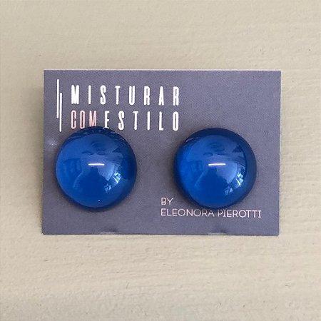 Brinco Bolão de Resina - M - Azul Marinho