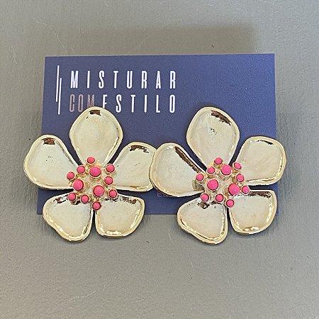 Brinco Flor Ibiza - Rosa