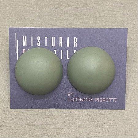 Brinco Bolão De Resina - M - Verde Oliva Fosco