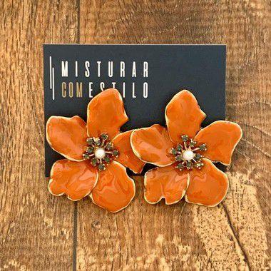 Brinco Flor Metal Esmaltada Grande - Laranja