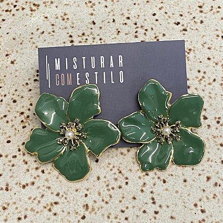 Brinco Flor Metal Esmaltada Grande - Verde