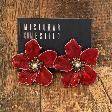 Brinco Flor Metal Esmaltada Grande - Vermelho