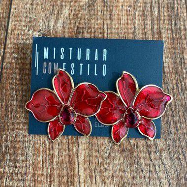 Brinco Orquidea Esmaltada - Vermelho