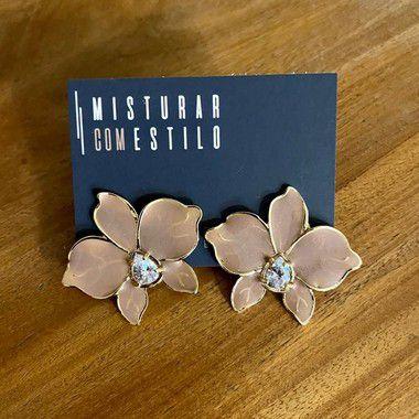Brinco Orquidea Esmaltada - Rose