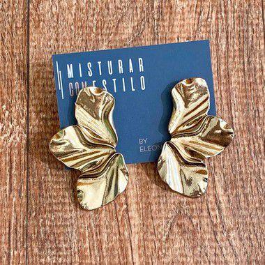Brinco Meia Flor Esmaltado - Dourado