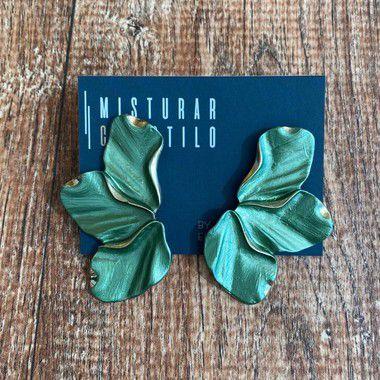 Brinco Meia Flor Esmaltado - Verde Claro