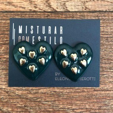 Brinco Coração Esmaltado - Verde Escuro