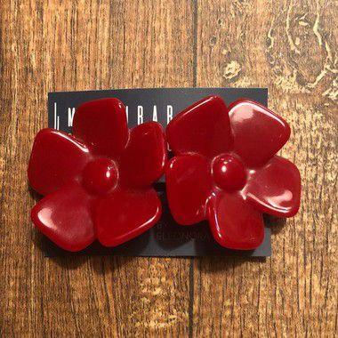 Brinco Flor Aberta Pressão - Vermelho