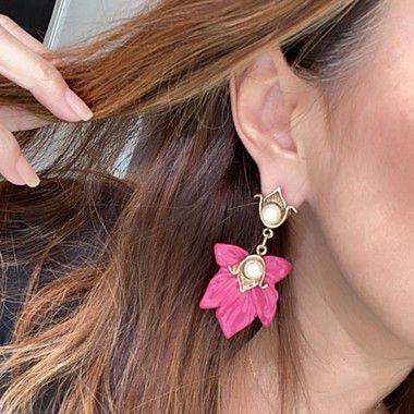 Brinco Flor Com Metal - Rosa