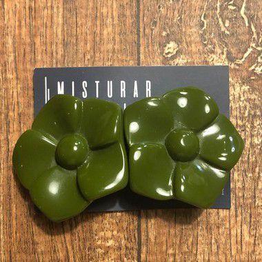 Brinco Flor de Resina Pressão - Verde