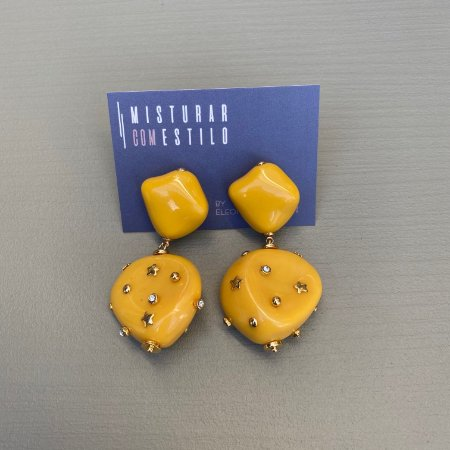 Brinco Resina Duplo - Amarelo com Taxas