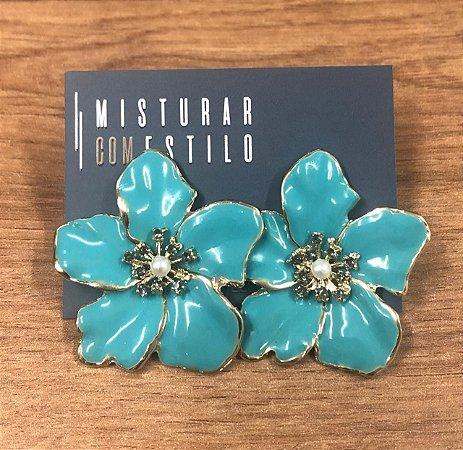 Brinco Flor Metal Esmaltada Grande - Turquesa
