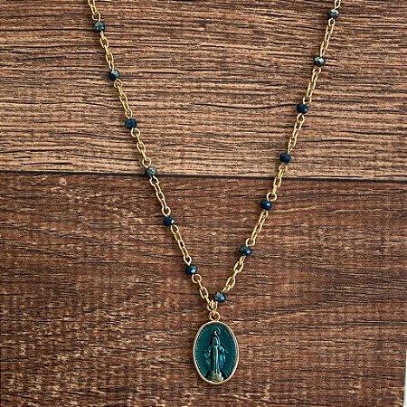 Colar Medalha Nossa Senhora Esmaltado Azul - Madonna