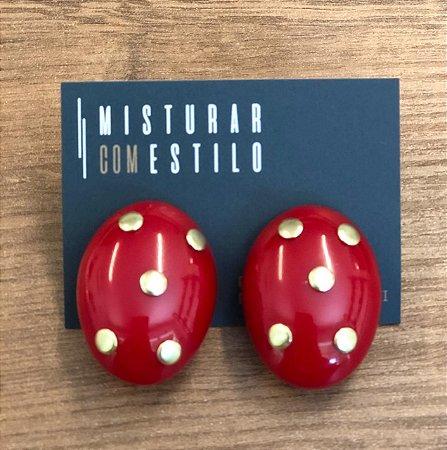 Brinco Cristina Oval - Vermelho