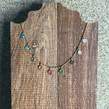 Colar Bolas Com Pedras Coloridas - Curto