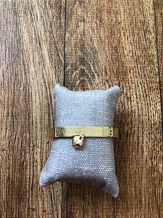 Bracelete - A Cada Dia Basta o Seu Cuidado - Dourado com Pingente de Coração