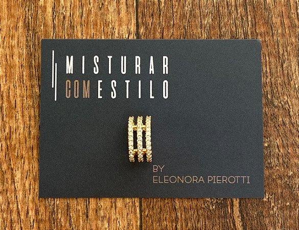 Piercing Trio de Zircônia - Dourado