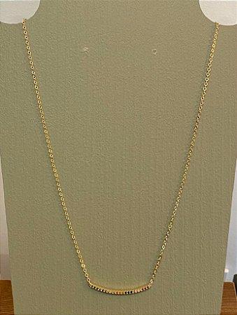 Colar Line Cravejado - Colors - Dourado
