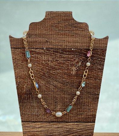 Colar Choker Debora - Pedras e Pérolas - Dourado