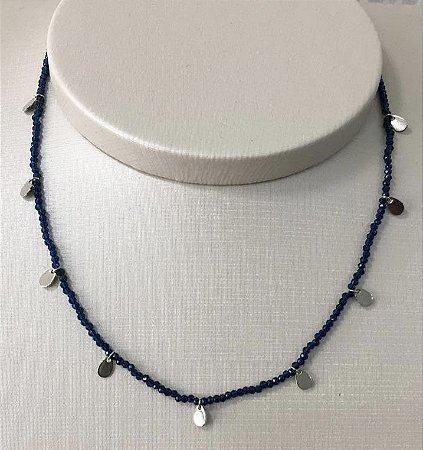 Colar Choker Bebela - Azul Marinho - Prata