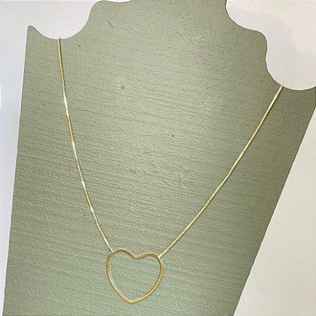 Colar Coração Vazado - M - Dourado